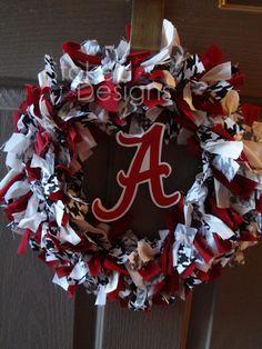 Alabama Crimson Tide Rag Wreath. $22.00, via Etsy.