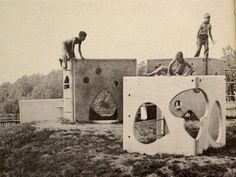 """""""Fantastic Village"""" consisted of 5 concrete and steel units / Creative Playthings catalog from 1956."""
