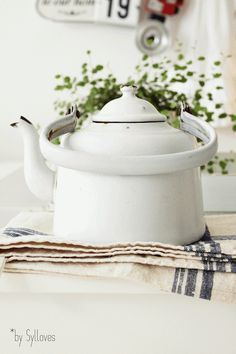 white enamelware kettle   collectibles + cookware