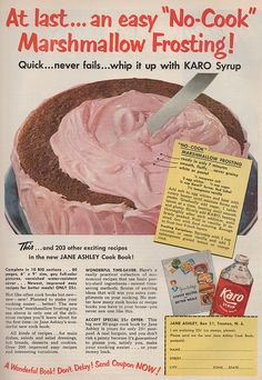 """No-cook"" Marshmallow Frosting recipe from Karo Syrup. Good Housekeeping, December 1952"