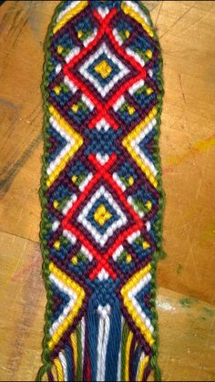 Another big friendship bracelet, hours of work, not finished yet. Pattern from http://friendship-bracelets.net/pattern.php?id=78237