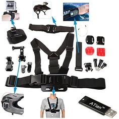 ATian(TM) 7 in 1 Accessory Kit Helmet strap+Velcro Belt+chest strap+Curved adhesive+J-hook and flat bases with 3M sticker+Elastic wrist strap+Safety steel wire for Gopro+ ATian Card Reader - http://www.rekomande.com/atiantm-7-in-1-accessory-kit-helmet-strapvelcro-beltchest-strapcurved-adhesivej-hook-and-flat-bases-with-3m-stickerelastic-wrist-strapsafety-steel-wire-for-gopro-atian-card-reader/