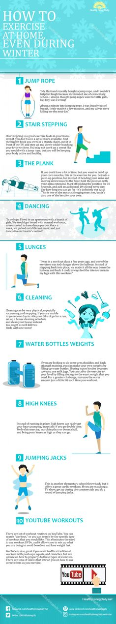 Read this article to find out how to exercise at home even during winter. 💪🧘‍♂️🏋❄☃  #exerciseathome #homeexercises #exercise #jumprope #jumpingjacks #stairstepping #waterbottleweights #cleaning #dancing #highknees #lunges #plan #healthylivingdaily #followme #follow