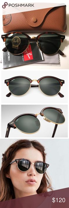Ray-Ban Clubround Sunglasses Brand new authentic Ray-Ban Clubround Tortoise & Green Sunglasses. Never worn. Includes box, case, cleaning cloth, and sunglasses! Embark on the quest for unconventionally cool style with the newest Ray-Ban icon that combines an iconic shape, classic materials and Ray-Ban DNA with the latest trend - round frames. Frame material: Acetate Frame color: Tortoise Lenses: Green Classic G-15 SIZE Shape: Round Size Lens-Bridge: 51 19 Temple Length: 145 Ray-Ban…