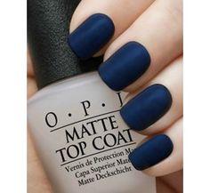 Matte Navy Manicure~OPI Russian Navy,OPI Matte Top Coat-11 Main