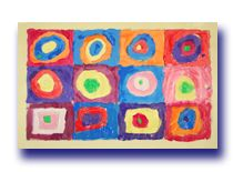 Image of Cara's version of 'Squares with Concentric Circles' by Wassily Kandinsky.