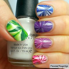 Painted Fingertips   Water marble for day 20 of the #31DC2014
