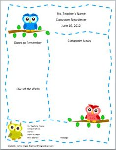 Teacher Newsletter Template - Primary Owls theme --- this would be cute with running animals or something cute for PE