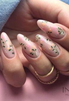 Almond Nail Art, Cute Almond Nails, Almond Acrylic Nails, Best Acrylic Nails, Acrylic Nail Designs, Nail Art Designs, Nail Designs Spring, Almond Nails Designs Summer, Round Nail Designs