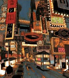 Visual Development for Big Hero 6 by japanese illustrator and Coraline concept artist: Tadahiro Uesugi. (Just imagine the entire San Fransokyo in his artstyle *stars in my eyes*)