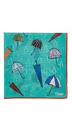 Umbrella-Print Pocket Square