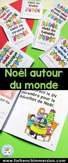 Christmas around the world French resource: a set of mini-books, each one focusing on a different country. Reading practice and cultural awareness resource for Christmas. French Christmas, Christmas Art, French Flashcards, Core French, Reading Practice, French Classroom, French Resources, Holidays Around The World, French Immersion