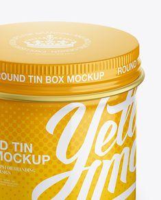 Glossy Round Tin Box Mockup - High-Angle Shot (Close-Up)