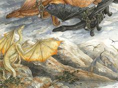 His Majesty's Dragon. Temeraire training under Celeritas with Maximus at Loch Laggen.