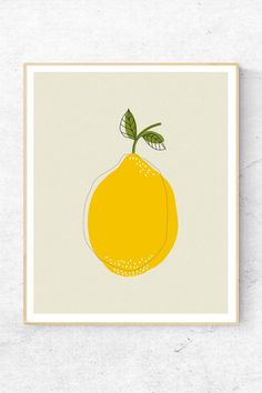 Home Interior Illustration Modern fruit print with a retro touch. A simple design to decorate your kitchen wall Yellow wall art.Home Interior Illustration Modern fruit print with a retro touch. A simple design to decorate your kitchen wall Yellow wall art Yellow Wall Art, Yellow Walls, L'art Du Fruit, Yellow Kitchen Decor, Kitchen Posters, Kitchen Wall Art, Kitchen Art Prints, Art For The Kitchen, Kitchen Ideas