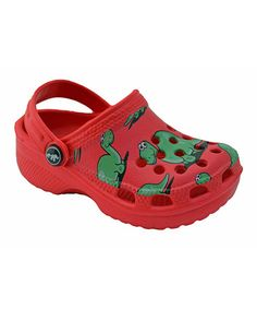 Take a look at this Red Dinosaur Clog by Little Laces on #zulily today!