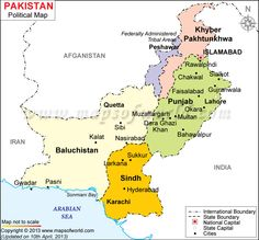 Pakistan Map Showing Provinces And Capital Cities
