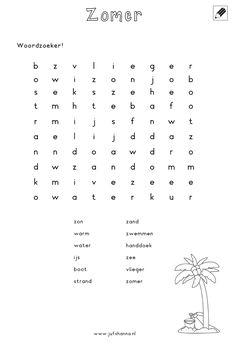 Woordzoeker [jufshanna.nl] Irene, Strand, Word Search, Words, Activities, Horses