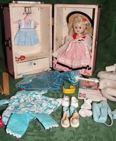 """1950's Vogue Ginny Doll with Trunk & Many Outfits & Accessories """"Debs #6074"""""""
