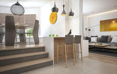 The space also makes use of levels, with an elevated dining room that gives the apartment a distinct sense of elegance.