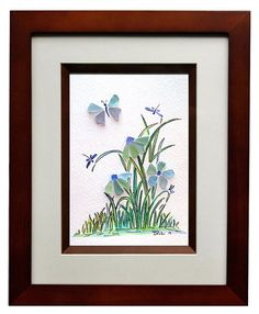 New England sea glass with hand painted background to make a whimsical piece of art. Matted with a double thick matte and framed 8x10 art work