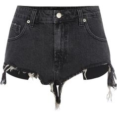 River Island Black ripped hem denim shorts (940.510 VND) ❤ liked on Polyvore featuring shorts, destroyed denim shorts, denim short shorts, tall shorts, zipper shorts and jean shorts