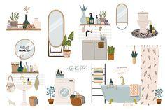Scandinavian bathroom interior by Ruslana Vasiukova on Magazine Illustration, Graphic Illustration, Bathroom Drawing, Architecture Collage, Bathroom Interior, All Design, Decorating Your Home, Planer, Design Elements