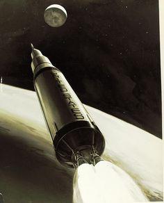Saturn V Rocket Illustration 1960s