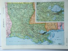 Georgia map on one side and alabama map on one side 1908 handy vintage 1967 rand mcnally world atlas map page louisiana on one side and maine on the other side gumiabroncs Image collections