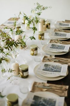 Individual gifts at each place setting always make your guests happy! Burlap napkins and vines add a farm feel to this fun table!