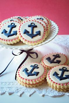 anchor glazed cookies are a nice dessert idea for a nautical bridal shower or wedding - Weddingomania Pink Cookies, Iced Cookies, Cute Cookies, Royal Icing Cookies, Sugar Cookies, Cupcakes, Cupcake Cookies, Nautical Cake, Nautical Theme