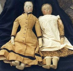 Old Cloth dolls with very nice Clothes.