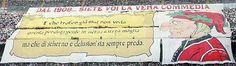 #Striscione dei tifosi milanisti in @acmilan-@Inter durante il campionato di calcio @SerieA_TIM