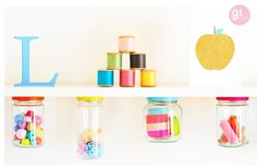 How cute are jar storage thingy things!  so creative!  Charlotte love: Pastel & Neon - 91 magazine.
