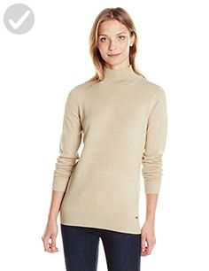 Calvin Klein Women's Long Sleeve Lurex Mock Neck Sweater, Latte, Large - All about women (*Amazon Partner-Link)
