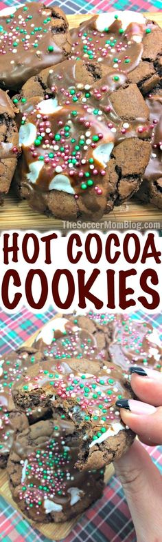 Like a warm mug of hot cocoa, only better! These rich & chewy hot chocolate cookies are the perfect treat for snowy days or as a part of a holiday cookie spread. #ChristmasCookies #chocolate