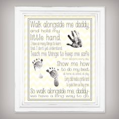 Walk with Me, Daddy - 11x14 Art Print - Personalize with your child's hand and foot prints - Father's Day Gift - Choose from Yellow or Gray