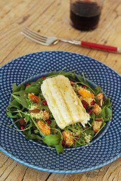 Cinco Quartos de Laranja: Filetes de peixe espada preto com salada de cuscuz e abóbora