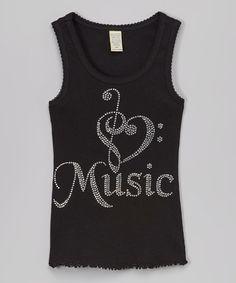 Love this Black Embellished 'Music' Tank - Kids & Tween on #zulily! #zulilyfinds