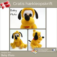 Hæklet baby Pluto Crochet For Kids, Crochet Baby, Rope Basket, Crochet Books, Mickey Mouse, Diy And Crafts, Crochet Patterns, Toys, Disney