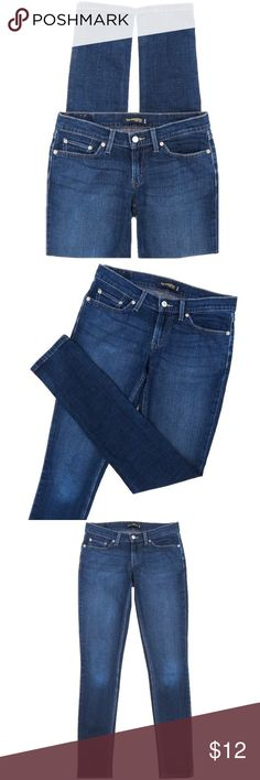 """Levis 524 Too Superlow Skinny Stretch Jeans Levis 524 Too Superlow Skinny stretch jeans. Medium dark blue, distressed wash. Cotton/Elastane. Size 7 Long. They have a 7"""" rise and 33"""" inseam. Amazing fit! Levi's Jeans Skinny"""