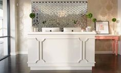Dallas - Blushington Makeup and Beauty Lounge Reception Desk Design, Reception Areas, Commercial Design, Commercial Interiors, Beauty Lounge, Learning Spaces, Salon Design, Interior Design, Salon Ideas