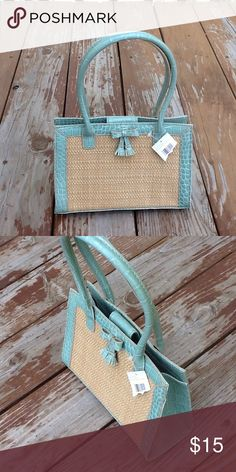 "NWT Liz Claiborne Mint Green Straw Tassel Purse Small summer straw and mint green inside zipper purse bag New with tags Measures: 9"" High x 10"" Wide Liz Claiborne Bags Mini Bags"