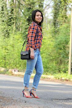 FabFashionaire.com Blog | Bright Plaid Shirt & Strappy Heel Sandals by FabFashionaire