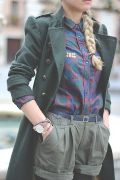 British Street Style: love the coat and most of the outfit... could do without the formal shorts though