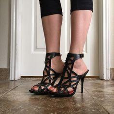 Black strap heels Black strap ankle heels. Worn once. Shoes Heels