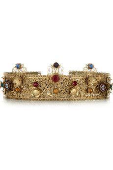 Dolce & Gabbana Couronne en plaqué or ornée de cristaux Swarovski | NET-A-PORTER