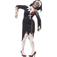 You can buy a Women's Zombie Bloody Sister Mary Costume from the Halloween Spot. This black costume includes Dress, Latex Wound, Rope Belt & Headpiece. Halloween Zombie, Mary Costume, Nun Costume, Zombie Halloween Costumes, Halloween Fancy Dress, Halloween Horror, Halloween Series, Women Halloween, Sister Costumes