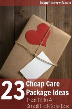"""23 Cheap Care Package Ideas That Fit In A Small Flat-Rate Box."" Great #carepackage tips from Heather at happyfitnavywife.com!"