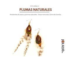 Pendientes de plumas en tonos marrones. www.jolujo.es